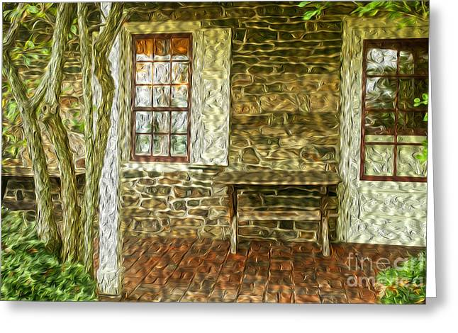 Stone House Greeting Cards - The Back Porch Greeting Card by Paul W Faust -  Impressions of Light