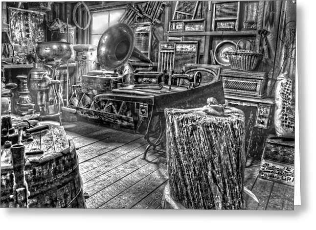 Country Store Greeting Cards - The Back Room Black and White Greeting Card by Ken Smith