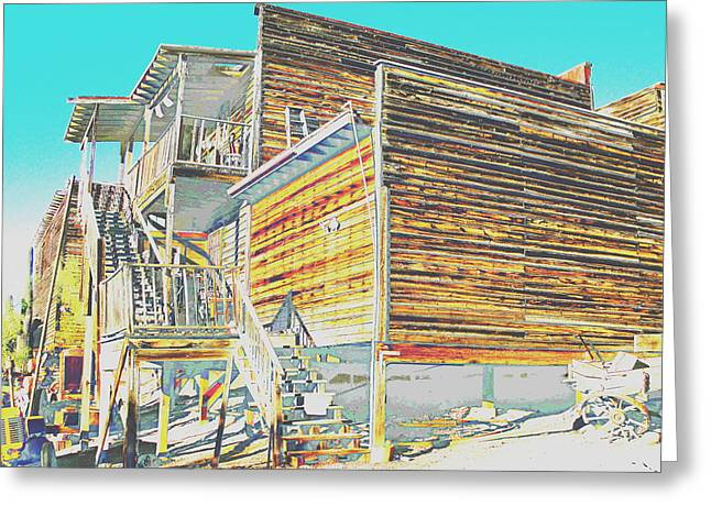 """oldest Wood Building"" Greeting Cards - The Back Stairway Greeting Card by Natalie Ortiz"