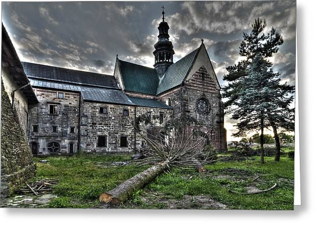 Historic Architecture Greeting Cards - The Back Yard of 12th Century Cistercian Monastery in Wachock Town in Poland Greeting Card by Julis Simo