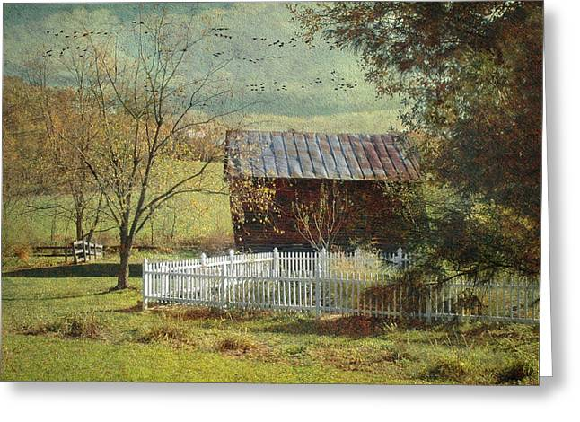 White Pickett Fences Greeting Cards - The Backyard Greeting Card by Fran J Scott