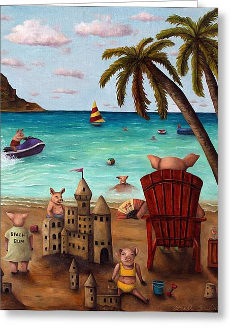 Sand Castles Greeting Cards - The Bacon Shortage brighter Greeting Card by Leah Saulnier The Painting Maniac