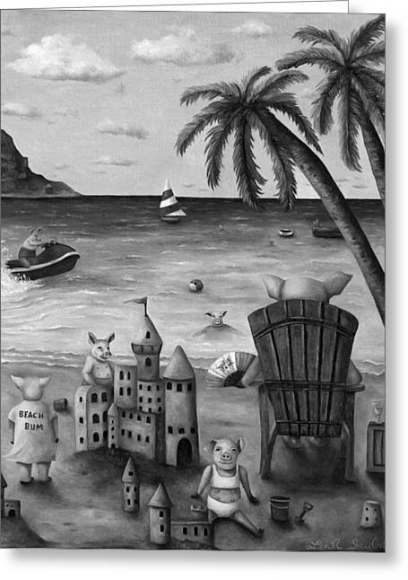 Sand Castles Paintings Greeting Cards - The Bacon Shortage in BW Greeting Card by Leah Saulnier The Painting Maniac