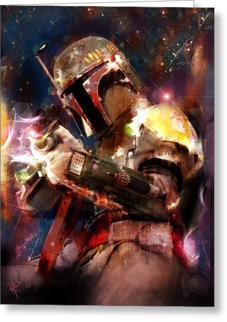 Outer Space Mixed Media Greeting Cards - The Bad Guy Greeting Card by Russell Pierce