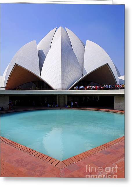 Bahai Greeting Cards - The Bahai temple in South Delhi in India Greeting Card by Robert Preston