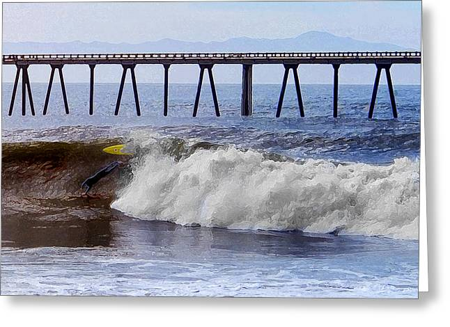 California Big Wave Surf Greeting Cards - The Bail Out Greeting Card by Ron Regalado