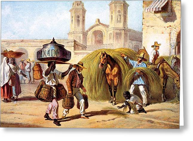Marketplace Greeting Cards - The Baker And The Straw Seller, 1840 Greeting Card by Federico Mialhe