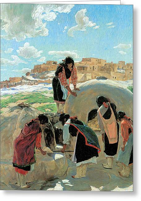 Native American Woman Greeting Cards - The Bakers Greeting Card by Walter Ufer