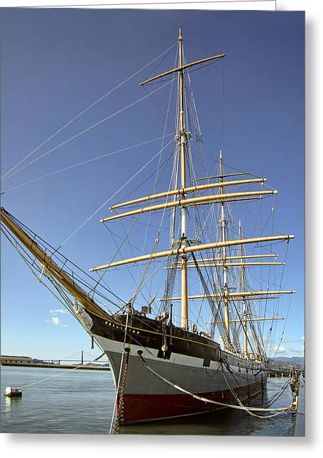 Historic Schooner Photographs Greeting Cards - The BALCLUTHA Historic 3 Masted Schooner - San Francisco Greeting Card by Daniel Hagerman