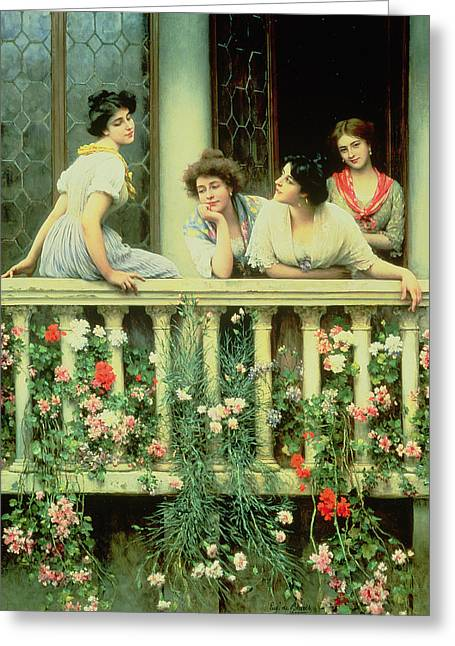 Canvas Floral Greeting Cards - The Balcony Greeting Card by Eugen von Blaas