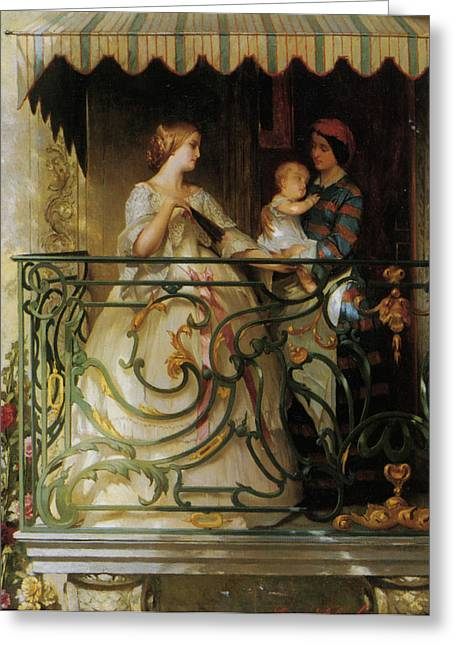 Woman In A Dress Greeting Cards - The Balcony Greeting Card by Gustave de Jonghe