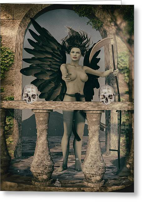 Female. Sensitivity Greeting Cards - The balcony of death. Greeting Card by Joaquin Abella