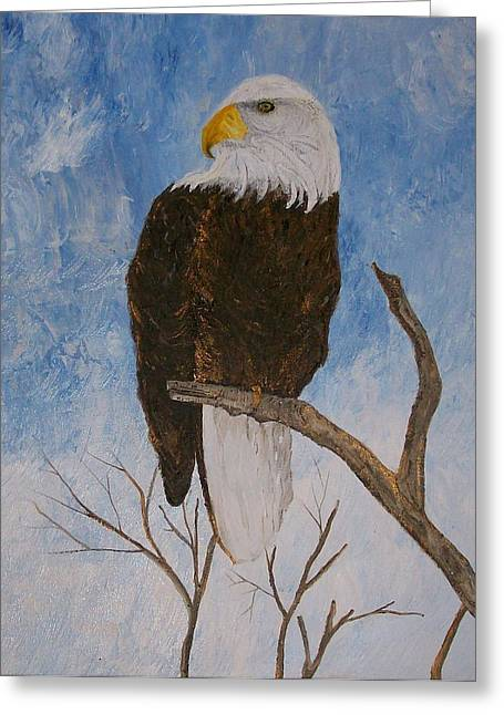 Eagles Pastels Greeting Cards - The Bald Eagle Greeting Card by Roy Penny