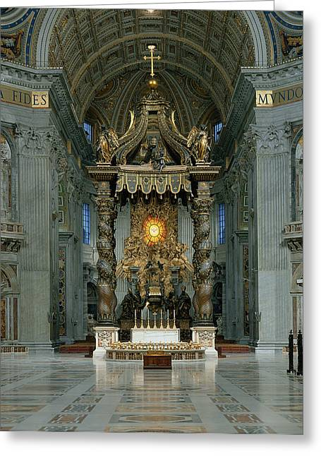 Baroque Greeting Cards - The Baldacchino, The High Altar And The Chair Of St. Peter Photo Greeting Card by Gian Lorenzo Bernini