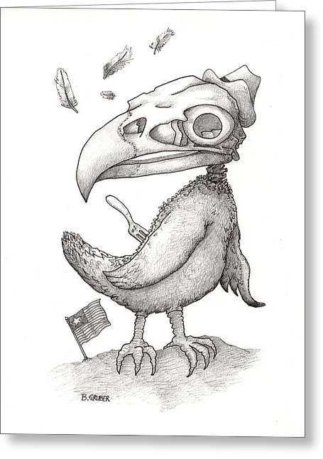 Liberal Drawings Greeting Cards - The Balder American Eagle Greeting Card by Bob Gruber