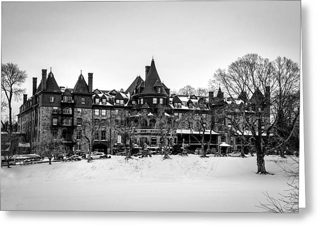 Bryn Mawr Greeting Cards - The Baldwin School in Winter in Black and White Greeting Card by Bill Cannon