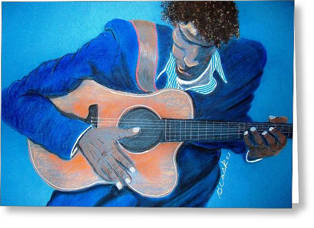Guitar Pastels Greeting Cards - The Balladeer Greeting Card by Charlie Black