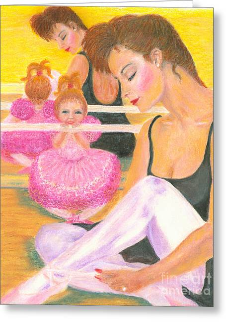 Gold Earrings Greeting Cards - The Ballerinas Greeting Card by Robin Grace
