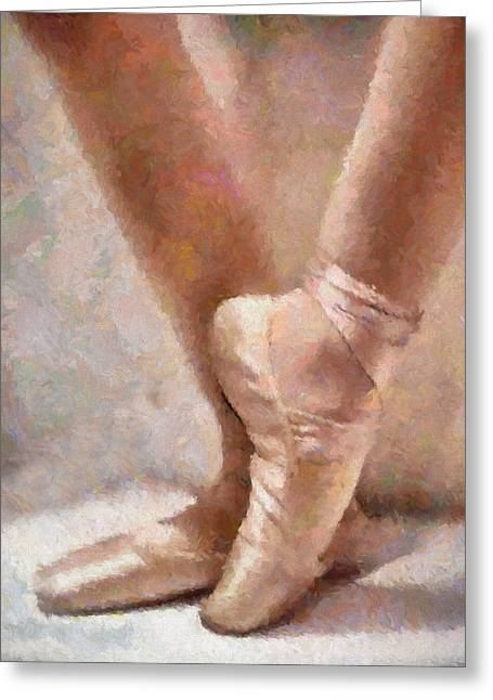 En Pointe Greeting Cards - The Ballerinas Shoes Greeting Card by Georgiana Romanovna