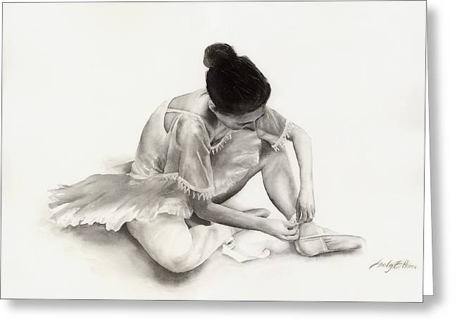 Ballet Dancers Paintings Greeting Cards - The Ballet Dancer Greeting Card by Hailey E Herrera