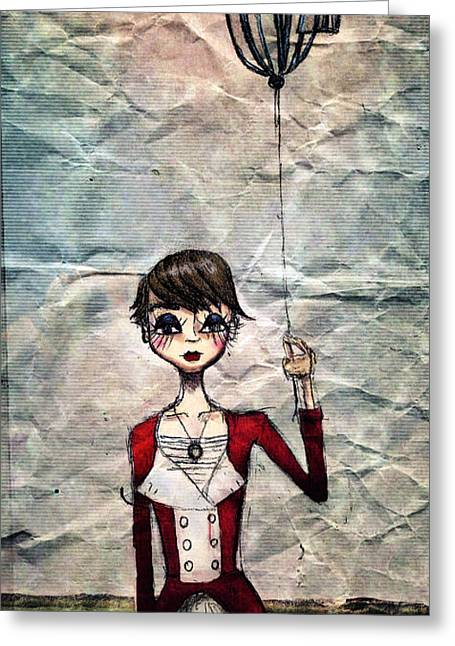 Hand Drawn Mixed Media Greeting Cards - The Balloon Greeting Card by Kristin Hodges