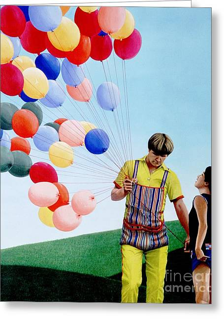 Red Balloons Greeting Cards - The Balloon Man Greeting Card by Michael Swanson