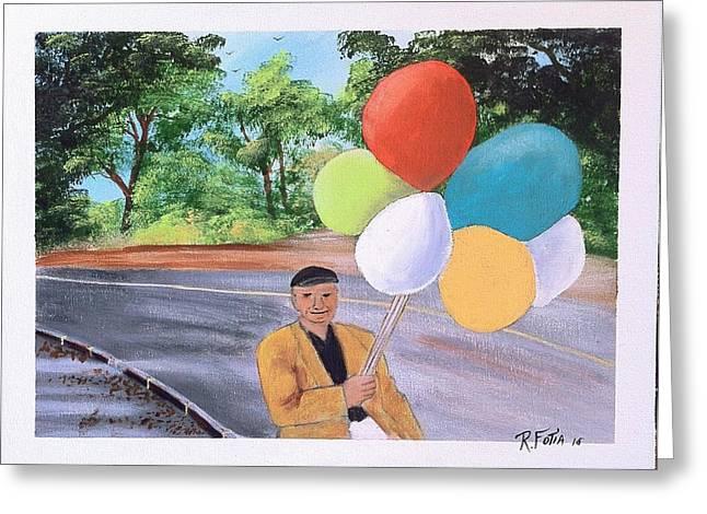 Balloon Vendor Greeting Cards - The Balloon Man Greeting Card by Rich Fotia