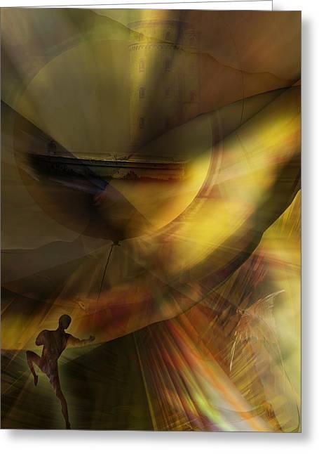 Best Sellers -  - Phantasie Greeting Cards - The Balloon Master Greeting Card by Holger Debek
