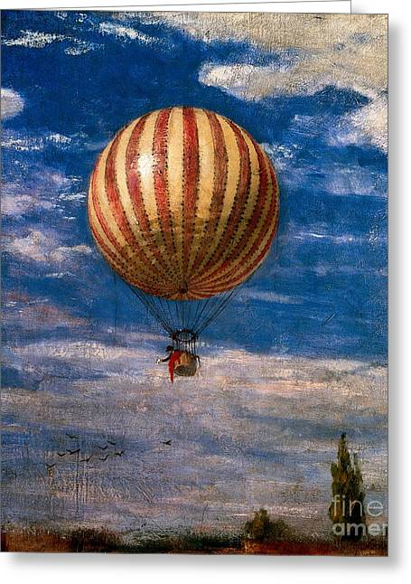 Ballooning Greeting Cards - The Balloon Greeting Card by Pal Szinyei Merse