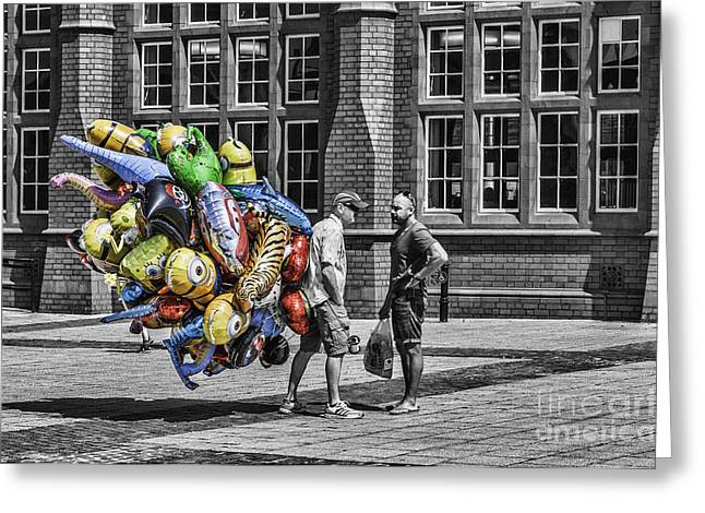 Balloon Vendor Greeting Cards - The Balloon Seller Popped Greeting Card by Steve Purnell