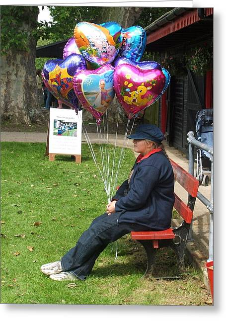 Balloon Vendor Greeting Cards - The Balloon Seller Greeting Card by Ted Denyer