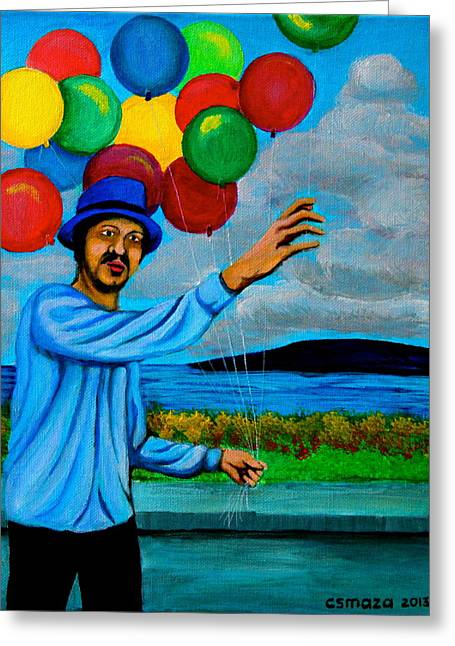 Park Scene Paintings Greeting Cards - The Balloon Vendor Greeting Card by Cyril Maza