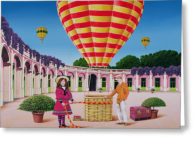 Edwardian Greeting Cards - The Balloonist, 1986 Acrylic On Board Greeting Card by Anthony Southcombe