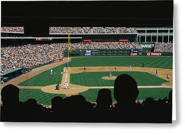 Human Being Photographs Greeting Cards - The Ballpark In Arlington Greeting Card by Panoramic Images