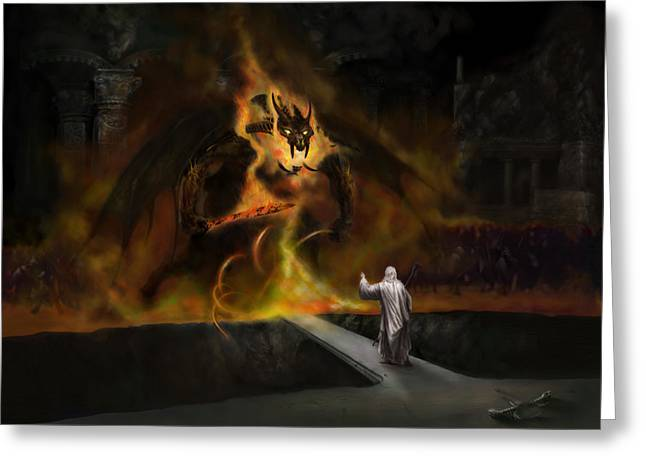 The Lord Of The Ring Greeting Cards - The Balrog Greeting Card by Matt Kedzierski