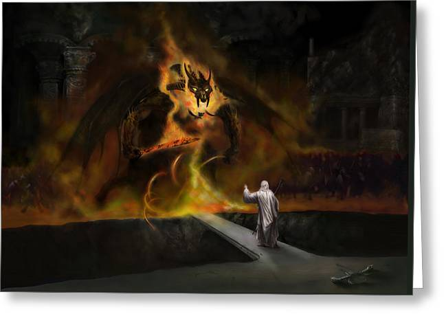 Lord Of The Rings Greeting Cards - The Balrog Greeting Card by Matt Kedzierski