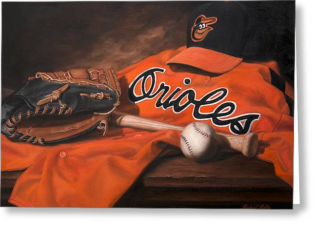 Baseball Glove Greeting Cards - The Baltimore Orioles Greeting Card by Michael Malta