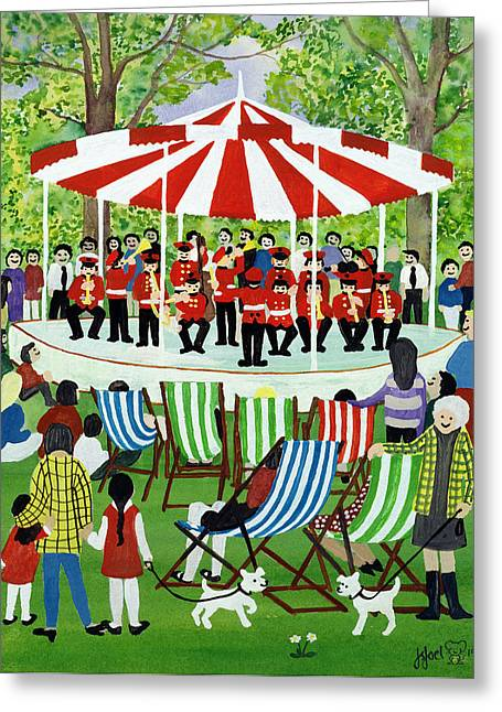 Deckchair Greeting Cards - The Bandstand Greeting Card by Judy Joel