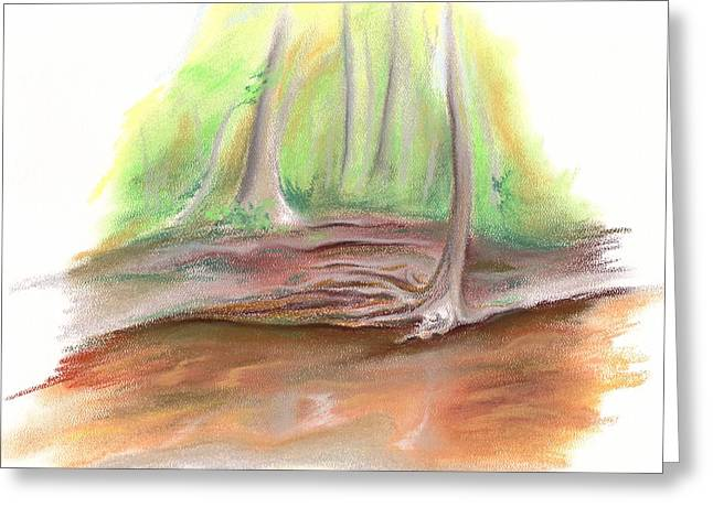 Creek Pastels Greeting Cards - The Bank of Blackwater Creek Greeting Card by MM Anderson