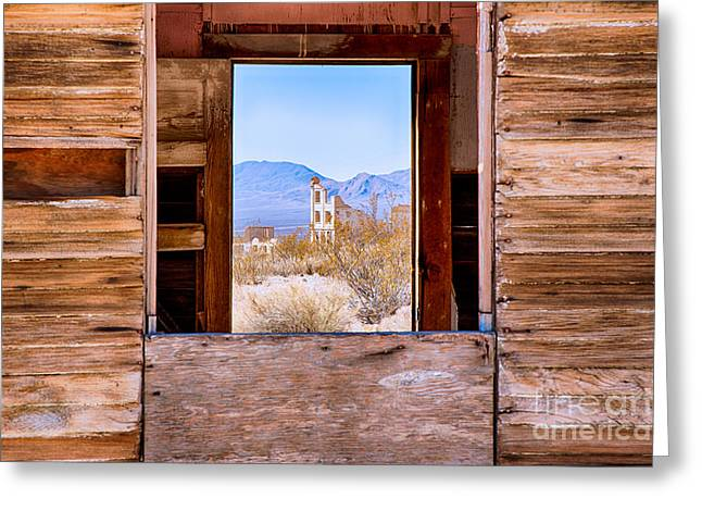 Death Valley Greeting Cards - The Bank Of Rhyolite Through The Ruins Greeting Card by Mimi Ditchie