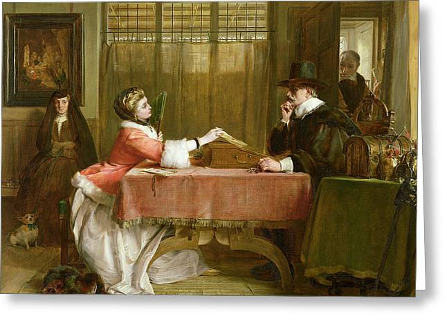 Banker Greeting Cards - The Bankers Private Room, Negotiating Greeting Card by John Callcott Horsley