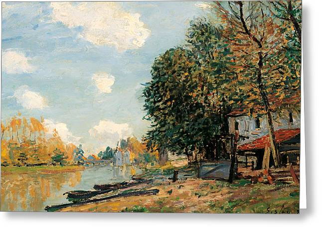Canoe Paintings Greeting Cards - The Banks of the River Loring Greeting Card by Alfred Sisley