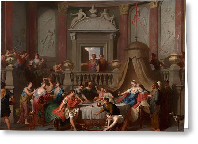 Banquet Greeting Cards - The Banquet of Cleopatra Greeting Card by Gerard Hoet