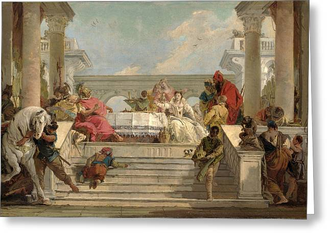 Giovanni Battista Tiepolo Greeting Cards - The Banquet of Cleopatra Greeting Card by Giovanni Battista Tiepolo