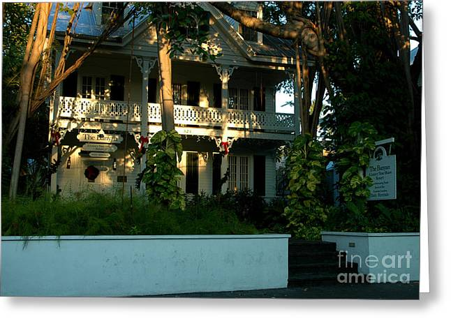 Florida House Greeting Cards - The Banyan House Resort in Key West Greeting Card by Susanne Van Hulst