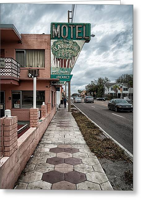 St Petersburg Florida Greeting Cards - The Banyan Tree Motel Greeting Card by James Unkov