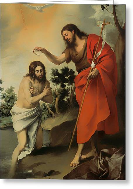 Baptize Greeting Cards - The Baptism of Christ Greeting Card by Bartolome Murillo