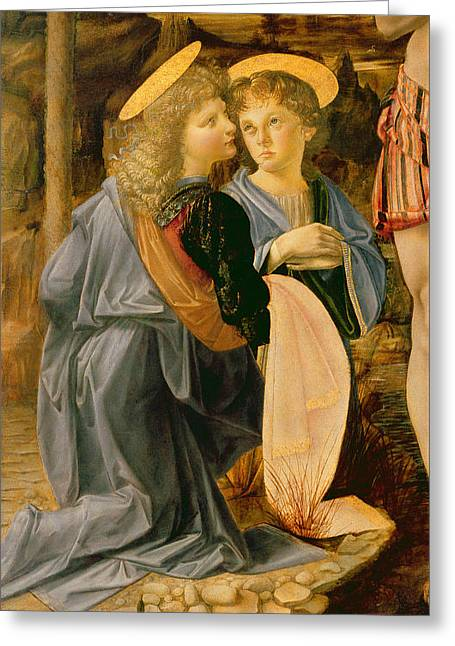 Gold Cloth Greeting Cards - Detail Of The Baptism of Christ by John the Baptist Greeting Card by Andrea Verrocchio