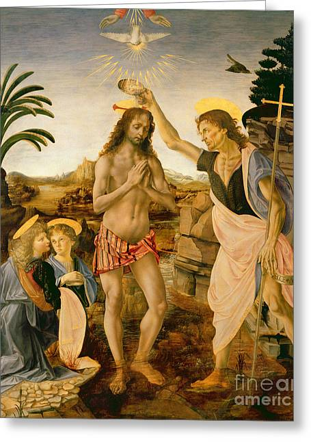 Lord Paintings Greeting Cards - The Baptism of Christ by John the Baptist Greeting Card by Leonardo da Vinci