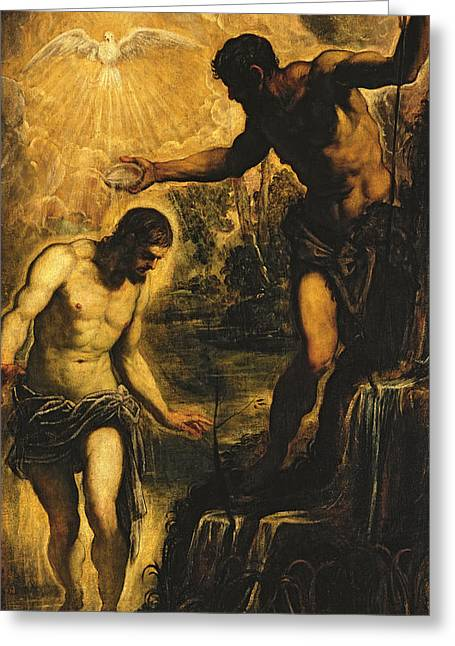 Baptism Greeting Cards - The Baptism of Christ Greeting Card by Jacopo Robusti Tintoretto